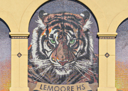 Beautiful tiger mosaic at new academic building addition and plaza