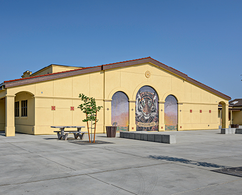 Exterior view of New Academic Building Addition and Plaza at Lemoore High School