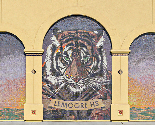 Mural of New Academic Building Addition and Plaza at Lemoore High School