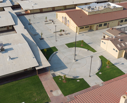 Aerial view of new academic building addition and plaza
